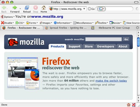 Screen capture of the Firefox interface